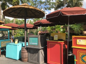 Snack stands nearby Pirates of the Caribbean ride with spring rolls