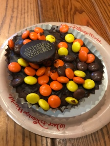 Peanut Brownie with candies on top from Backlot Express