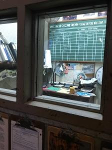 Fake full scheduling office setup inside Backlot Expres