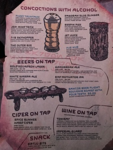 Oga's Cantina alcoholic drink menu with images of some of the serving glasses