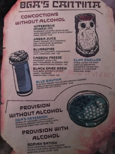 Non-alcoholic drink menu with images of some of the special cups they are served in