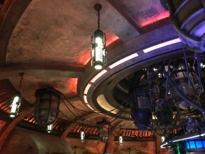 Alien looking lights and ceiling apparatus inside Oga's Cantina
