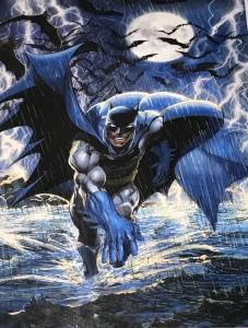 Art print by Neal Adams of Batman running in water at night