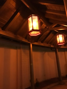 Lit wood covering in Hollywood Studios Grauman's Chinese Theater