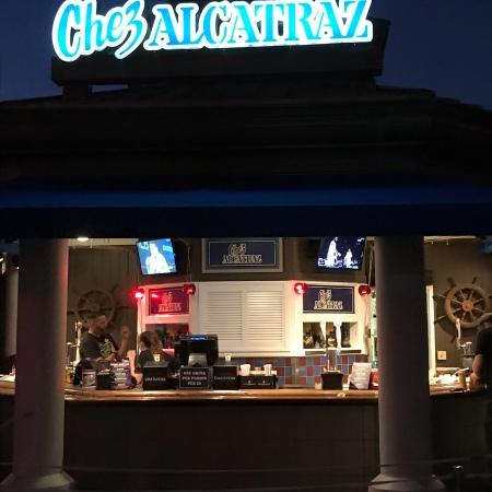 Chez Alcatraz bar at night at Universal Studios
