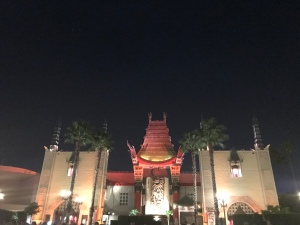 Full theater view of outside of Grauman's Chinese Theater at Hollywood Studios at night