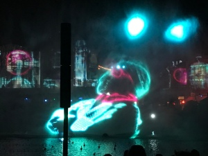 Invisible Man projection on water during Marathon of Mayhem
