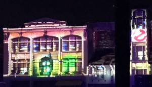 Projection on building of Ghostbuster headquarters at Halloween Horror Nights