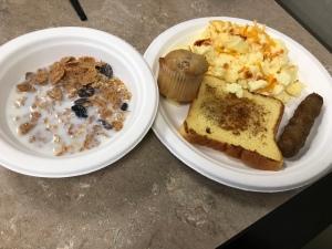 Breakfast on table after the triathlon