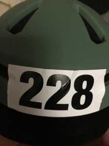 Bike helmet with triathlon number on front