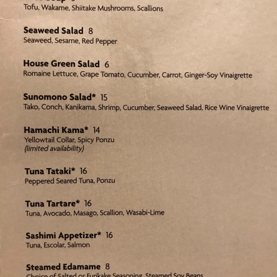 Menus at Orchid Court Lounge